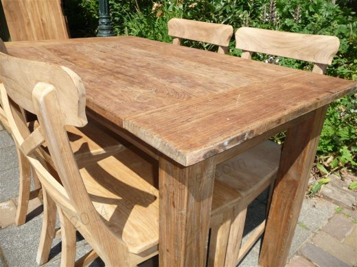 Teak table 120 x 80 cm  reclaimed - Picture 4