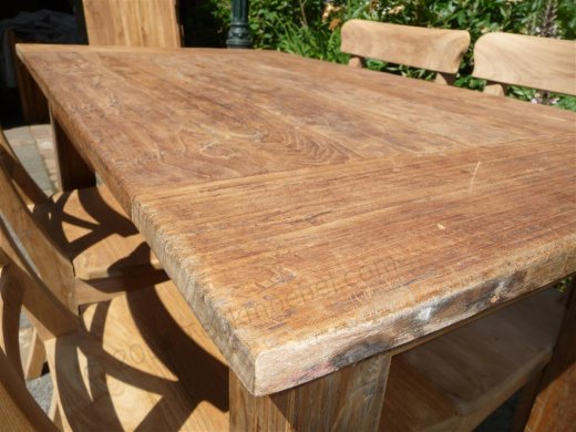 Teak table 120 x 80 cm  reclaimed - Picture 5