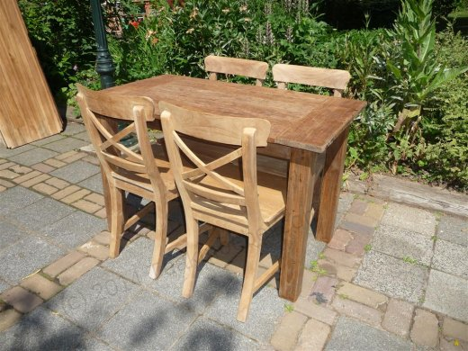 Teak table 120 x 80 cm  reclaimed - Picture 10