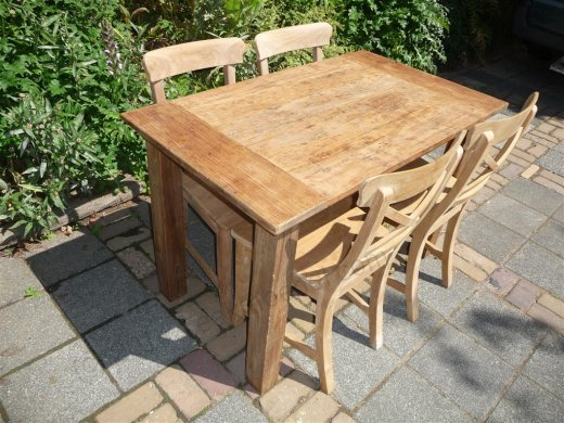 Teak table 120 x 80 cm  reclaimed - Picture 8