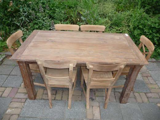 Teak table 160 x 90 cm reclaimed - Picture 7