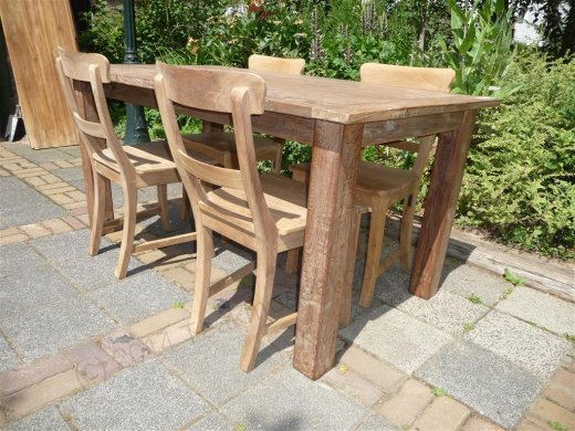 Teak table 160 x 90 cm reclaimed - Picture 6