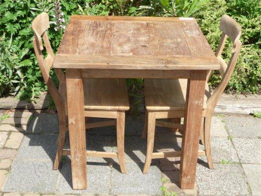 Teak table 80 x 80 cm reclaimed - Picture 0