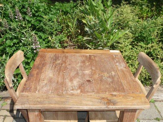 Teak table 80 x 80 cm reclaimed - Picture 3