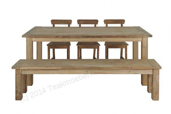 Teak table 200 x 100 cm reclaimed - Picture 3