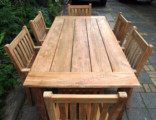 Teak garden table 200 x 100 cm - Picture 9