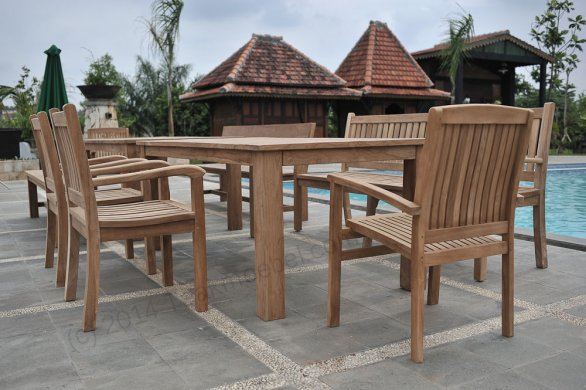 Teak garden table 220 x 100 cm - Picture 19