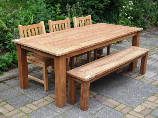 Teak garden table 220 x 100 cm - Picture 0