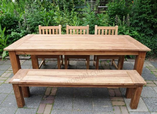 Teak garden table 220 x 100 cm - Picture 2