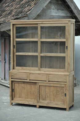 Teak display cabinet 160cm modern - Picture 1