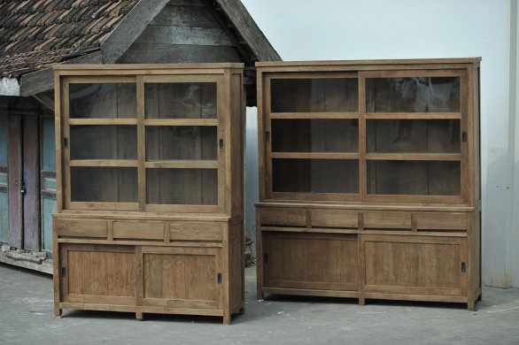 Teak display cabinet 160cm modern - Picture 2