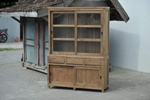Teak display cabinet 160cm modern - Picture 0