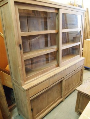 Teak display cabinet 200cm modern - Picture 2