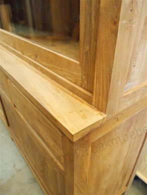 Teak display cabinet 200cm modern - Picture 5