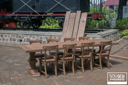Teak refectory table 300x100 + 8 chairs