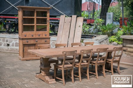 Teak refectory table 300x100 + 8 chairs + Cabinet 130