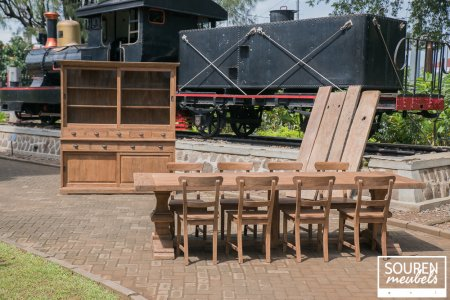 Teak refectory table 300x100 + 8 chairs + Cabinet 200