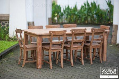 Teak table dingklik 200x100 + 8 chairs