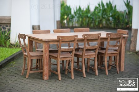 Teak table dingklik 200x100 + 8 chairs
