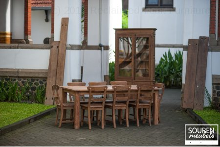Teak table dingklik 200x100 + 8 chairs + Cabinet 2d