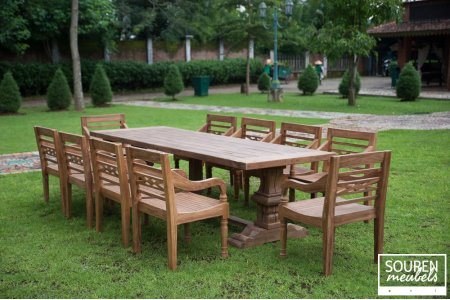 Outdoor refectory table 300x100 + 12 gardenchairs
