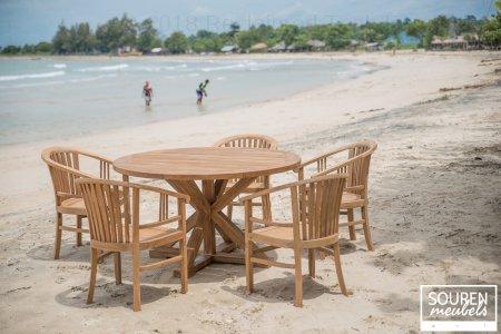 Round garden table 140 + 5 chairs