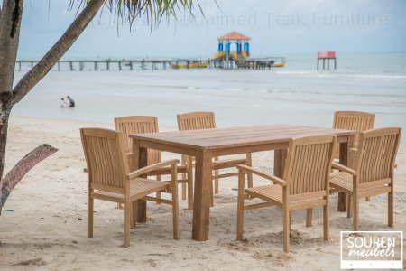 Teak gardentable 200x100 + 6 stackingchairs