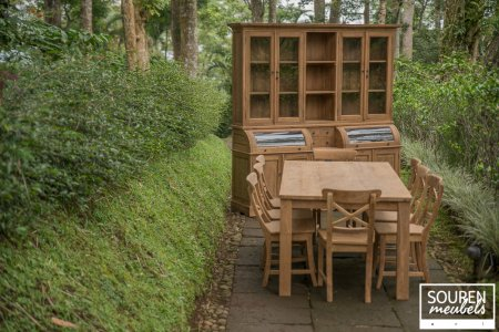 Teak table 200x100 + 8 chair cross + cabinet 210