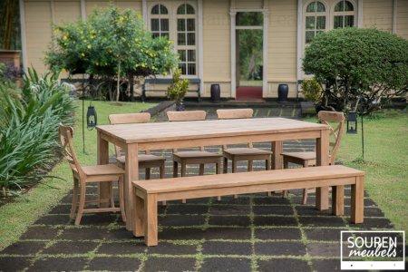 Teak table 200x100 + 5 chair cross + bench 200