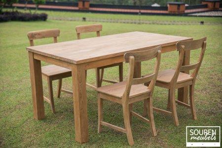 Teak table 160x90 + 4 chairs