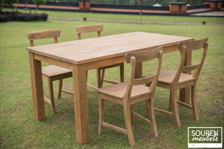 Teak table 160x90 + 4 chairs