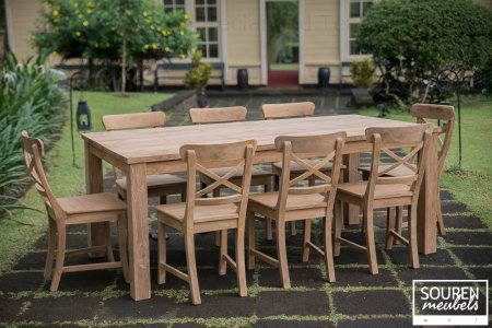 Teak table 200x100 + 8 chair cross