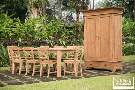 Teak table 200x100 + 8 chair cross + wardrobe 120