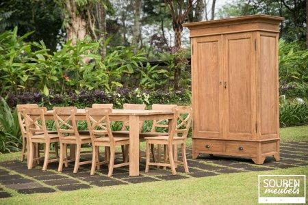 Teak table 200x100 + 8 chair cross + wardrobe 120