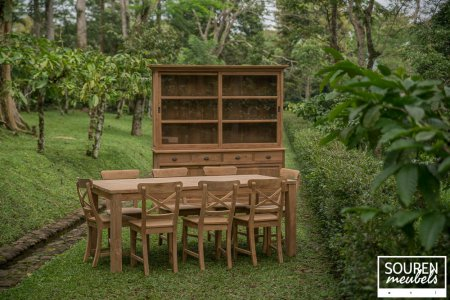 Teak table 200x100 + 8 chair cross + cabinet 200