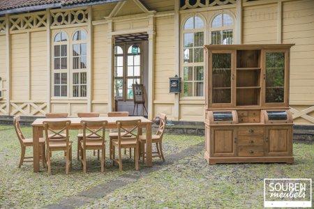 Teak table 200x100 + 8 chair cross + cabinet 160