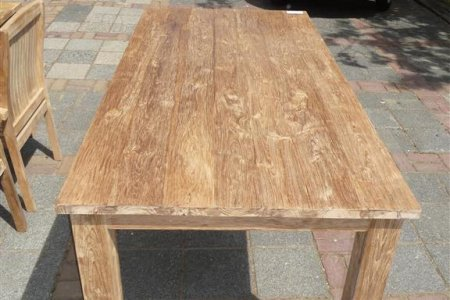 Teak dining table 180 x 90 old brushed