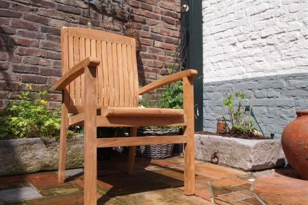 Teak garden chair stacking