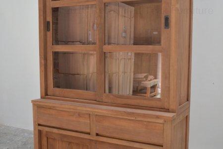 Teak display cabinet 120cm modern