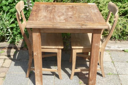 Teak table 80 x 80 cm reclaimed