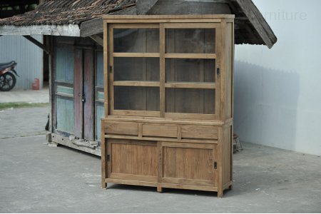 Teak display cabinet 160cm modern