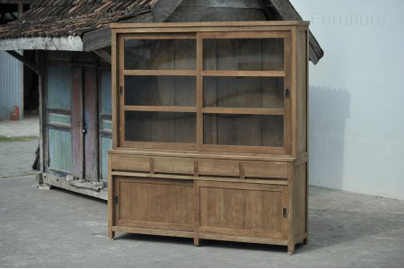 Teak display cabinet 200cm modern