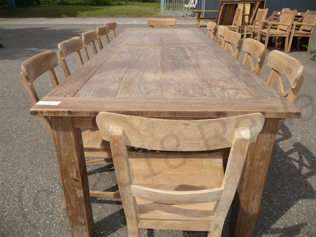 Teak table 300 x 100 cm reclaimed reclaimed teak furniture for Table 300 cm