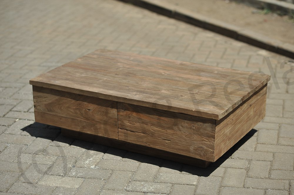 Old Teak Salontafel.Teak Coffeetable 110x70cm Old Brushed Reclaimed Teak Furniture