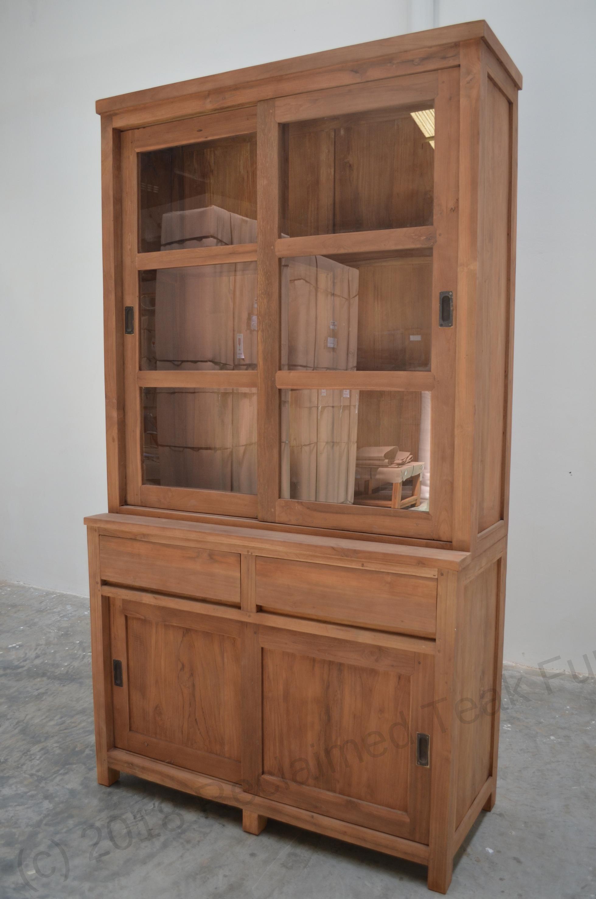 Teak display cabinet 120cm modern   Reclaimed Teak Furniture