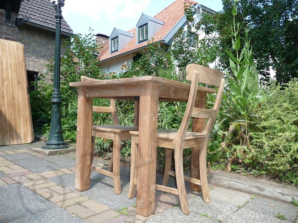 teak table 80 x 80 cm reclaimed reclaimed teak furniture. Black Bedroom Furniture Sets. Home Design Ideas