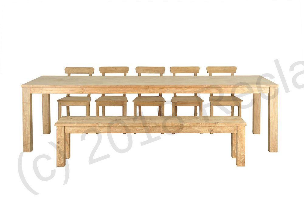 Teak table 300 x 100 cm reclaimed teak furniture for Table 300 cm